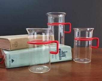 Tall Bodum Bistro Glass Coffee Mugs -  set of 3 Vintage Bodum Denmark Coffee Cups - Bodum Coffeeglas - Red Handle Bodum Bistro Coffee Mugs