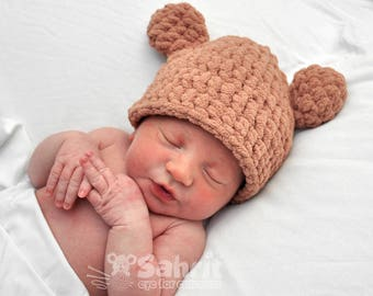 PATTERN Instant Download Bear Ears Hat and Diaper Cover Newborn baby Shower Gift Crochet Beanie Photo Prop