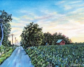 """Fine Art, Original Oil Painting, Landscape Painting, Evening Painting 9 X 12 """"Country Evening"""""""