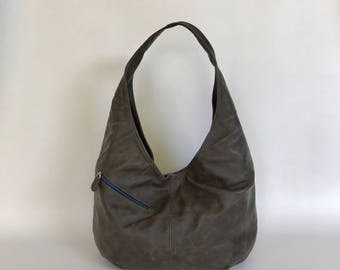 Distressed Gray Leather Hobo Bag, Stylish Everyday Shoulder Handbag with Outside Pockets, Alicia