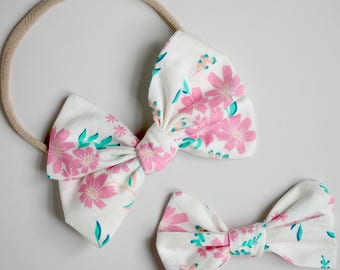 Pink Summer Floral Emmie Bow headband or clip
