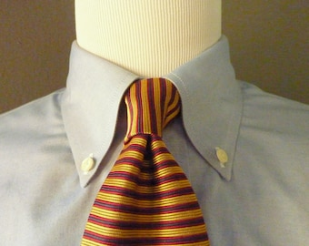 Vintage Brooks Brothers MAKERS All Silk Gold, Navy Blue, & Red Horizontal Striped Trad / Ivy League Neck Tie.  Made in USA.
