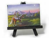 2.5x3.5 Legend of Zelda, Link, Zelda, Epona, Mini Magnet or Easel Painting by J. Mandrick
