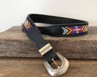 """Vintage Beaded Belt / 26-29 """" Waist"""