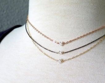 SALE Herkimer Diamond Necklace, Delicate Diamond Necklace, Rose Gold Herkimer Necklace, Sterling Herkimer Diamond Necklace, Dainty Gold Neck