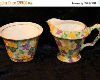 60% OFF Clearance Sale Vintage James Kent Ltd Primula Sugar and Cream Set With Purple and Yellow Violets