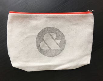 Canvas Zippered Pouch with ampersand