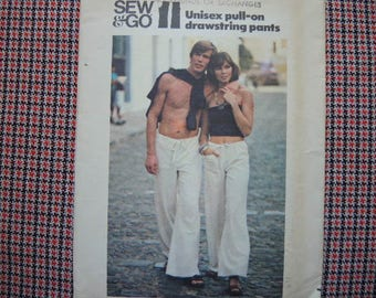 vintage 1970s Butterick sewing pattern 4344 mens sew & go pull on drawstring pants size medium