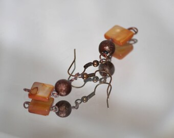 Copper and Shell Earrings