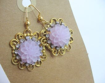 Lavender Earrings, Rhinestones Dangle Earring, Floral Earring, Floral Jewelry, Womens Jewelry, Gold Earring, Purple Earring, Gift for Her