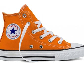Kids Converse Childrens High Top Youth w/ Swarovski Crystal Rhinstone Vivid Orange Canvas Chuck Taylor Bling All Star Sneakers Shoes