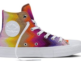 Converse High Top MISSONI Multicolor Rainbow Pride Knit crochet Custom w/ Swarovski Crystal Rhinestone Chuck Taylor All Star Sneakers Shoe