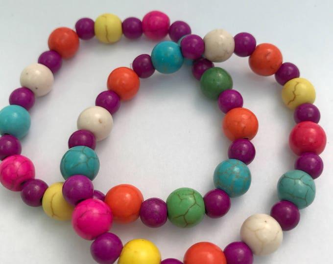 Kids Candy Color Bracelet - Stackable Bracelet Set - 2 Childrens elastic bracelets - Pink and Purple Jewelry - Bracelets for girls