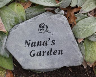 Nana's Garden engraved stone
