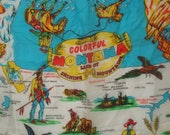 Vintage Souvenir Scarf Montana Cowboys