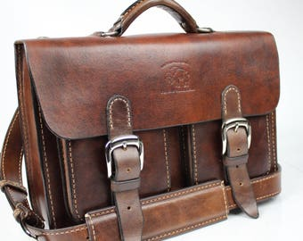 Leather Messenger Bag,  Leather Briefcase, Leather shoulder bag,fits MacbookPro 130