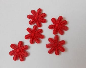 5 flowers in red guipure of 2.2 cm