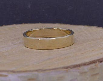 Wedding band 9ct gold, planished Fiona Lewis design hand made in UK