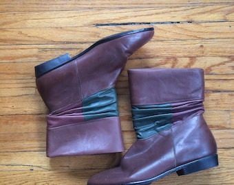 Vintage Danexx Brown and Green Robin Hood Style Booties