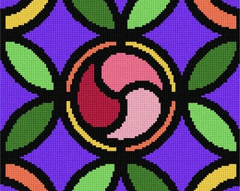 Needlepoint Kit or Canvas: Leaf Pattern Lilac