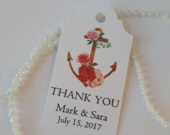 Floral Bohemian Wedding Favor Tag - Nautical Anchor and Peonies - Personalized Thank You Tags - Boho Thank You Tags - WT087