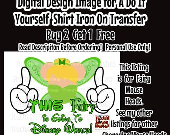 Going To Disney Fairy Mickey Ears Printable Iron on Transfer Mouse Head Shirt – DIY Disney Shirt Matching Family Shirts Minnie Ears