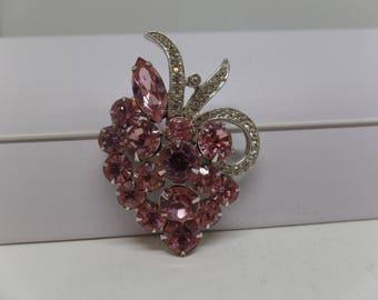 EISENBERG Ice Signed Pink Crystal  Brooch