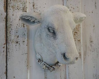 White cow head wall mount faux painted hints of taupe/ gray French farmhouse mounted heifer taxidermy large hanging decor anita spero design
