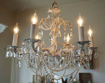 White ornate chandelier lighting embellished vintage pearl necklace garland w/ crystals distressed shabby French nordic & Timeless Home decor and gifts shipped 1 to 3 by AnitaSperoDesign azcodes.com