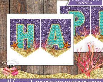 Mermaid Theme Happy Birthday Banner Digital Download