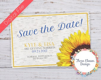 Sunflower & Birch Printable Save The Date