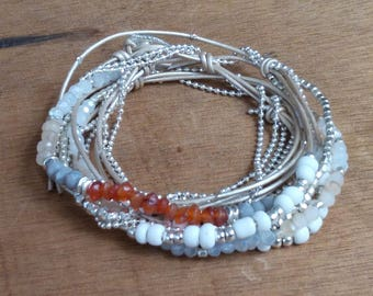 Bracelet 3 turns - Japanese pearls and leather - boho - hippie - gypsy - gypset - bohemian - ethnic - gypsy style - SABLE CHAUD