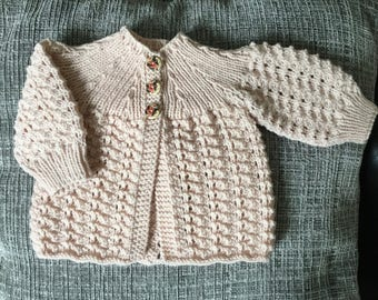 Powder Pink baby coat. Pink hand knitted baby sweater. Pink newborn baby matinee coat. Newborn pink baby jacket. Ready to ship.