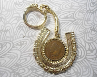 1 Goldplated Lucky Horseshoe Indian Head Penny key Ring Key Chain