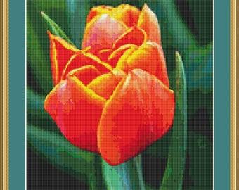 Orange Tulip Cross Stitch Pattern