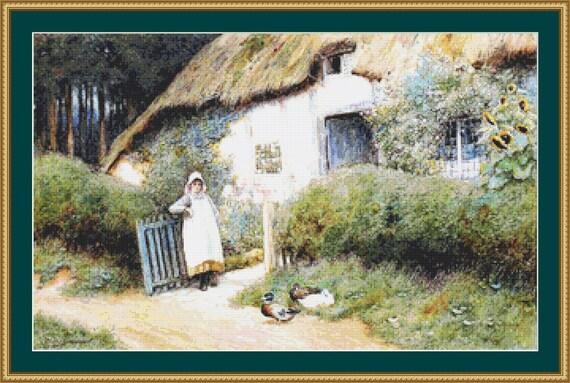 A Woodland Cottage Cross Stitch Pattern /Digital PDF Files /Instant downloadable