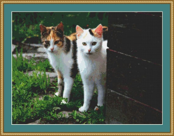Two Young Cats Cross Stitch Pattern /Digital PDF Files /Instant downloadable