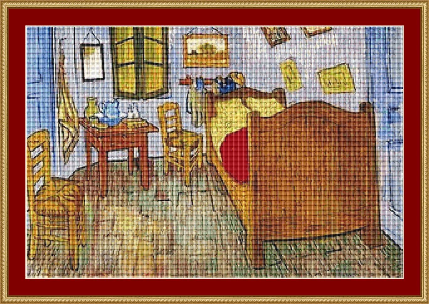 La chambre de van gogh cross stitch pattern - La chambre de van gogh ...
