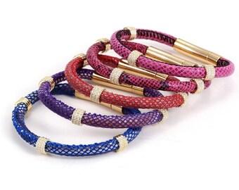 Python leather bracelets