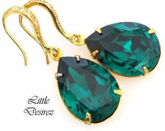 Emerald Gold Earrings Dark Green Earrings Swarovski Crystal Emerald Earrings Bridal Earring Wedding Jewelry Bridesmaid Gift Deep Green EM31H