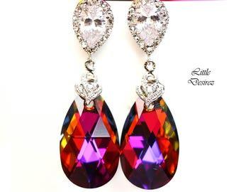 Swarovski Earrings Volcano Crystal Bridal Earrings Cubic Zirconia Statement Earrings Bridesmaids Gifts Cobalt Amber Purple Orange VO32P