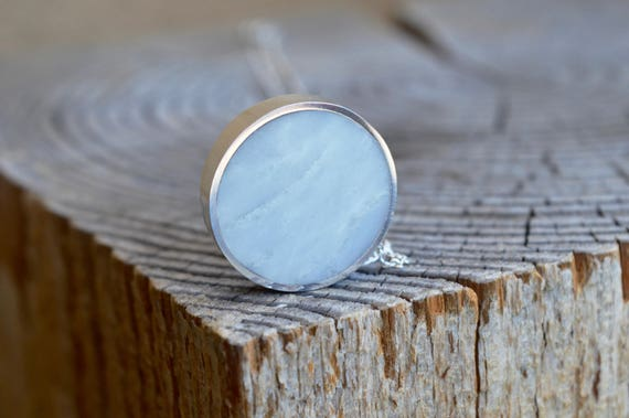 Silver and Solid Marble Handmade Circle Pendant Necklace - Minimalist Jewelry Geometric Sterling Simple Beautiful Metalwork White Marbled