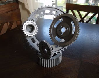 Abstract Metal Sculpture Motorcycle Gears