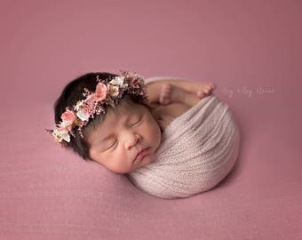 Primrose Lace Knit Wrap, Newborn Photo Prop, Newborn Layering Fabric, Newborn Stretch Knit Wrap, Pink Baby Wrap, Pink Stretch Wrap
