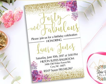 40th BIRTHDAY INVITATION - Birthday Party Invitation - Digital File - Fully Customized - 40 and fabulous - Shabby Chic Flowers