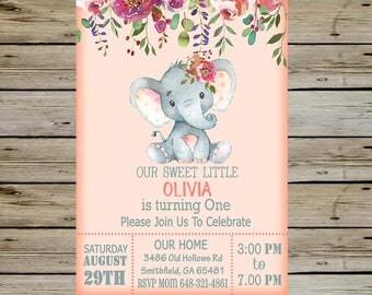 Cute Baby ELEPHANT BIRTHDAY Invitation - Birthday Invite - Customized Digital Invitation - High Resolution - Cute Baby Elephant Girl Invite