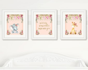 BEAUTIFUL Elephant & Giraffe Nursery Wall Art, Girl Nursery Cute Animals Wall Decor, Instant Download, Watercolor Safari Wild Animals