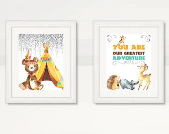 WOODLAND WALL ART, Woodland Wall Decor, Bear Deer Porcupine Squirrel Teepee, Boy Wall Art, Boy Wall Decor, Instant Download, The Adventure