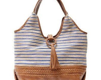 Steven Landry Blue Stripe Tassel Hobo Bag Tote Purse
