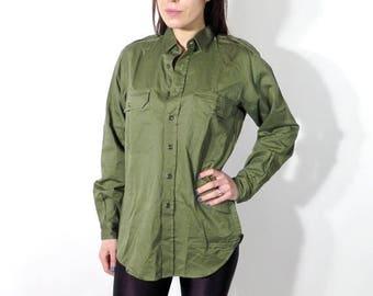 SALE Vintage Military Shirt / Man Army Shirt / Military Shirt / Man Green Shirt / Army Shirt Size 38 / Vintage Man Shirt / 90s Shirt